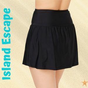 Plus Size Tummy-Control Swim Skirt Black